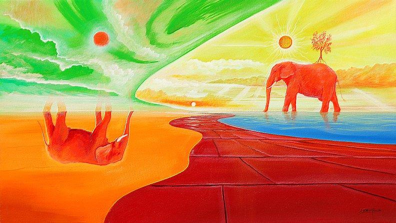 Am Elefantensee  - Ölbild / Leinwand - Gemälde von  S t e r n h a g e l