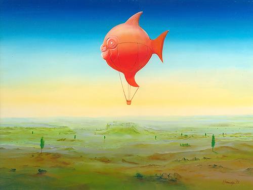Ballonfisch - Acryl / Holztafel - Gemälde von  S t e r n h a g e l
