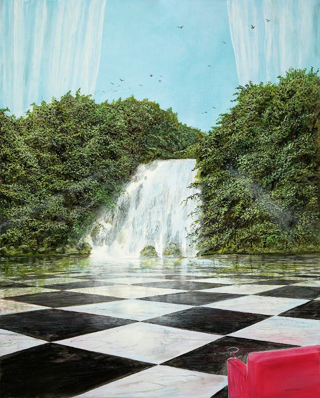 Der Fall mit dem Wasser - Ölbild / Leinwand - Gemälde von  S t e r n h a g e l