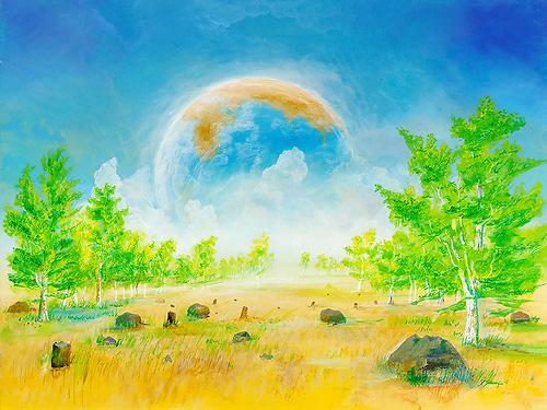 Doppelwelt - Acryl / Holztafel - Gemälde von  S t e r n h a g e l