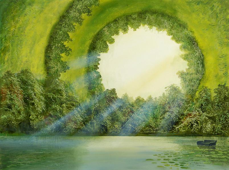 Entschleunigung - Ölbild / Holztafel - Gemälde von  S t e r n h a g e l