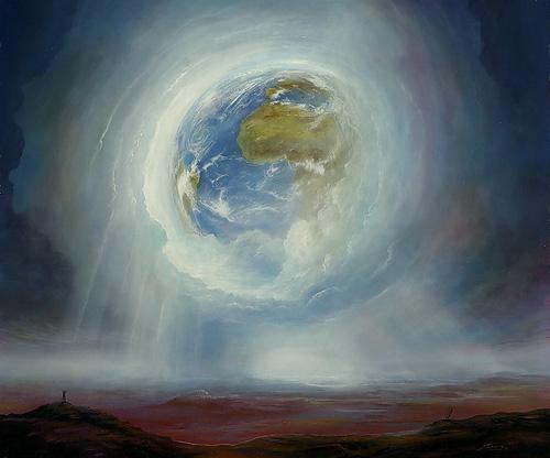 Erdaufgang - Acryl / Holztafel - Gemälde von  S t e r n h a g e l