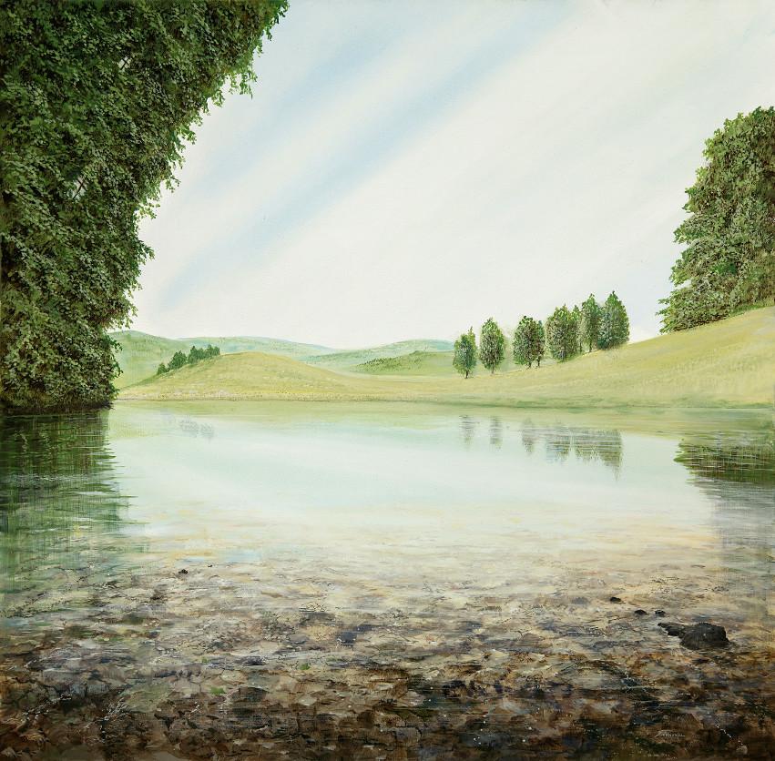 Fenster im Turm - Ölbild / Leinwand - Gemälde von  S t e r n h a g e l