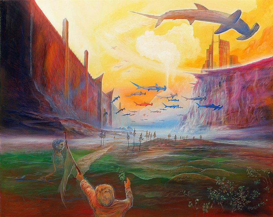 Fischkreuzung - Ölbild / Leinwand - Gemälde von  S t e r n h a g e l