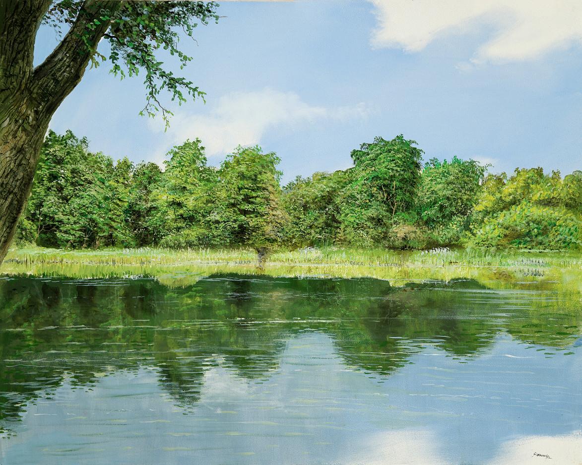 Getönter Spiegel - Ölbild / Holztafel - Gemälde von  S t e r n h a g e l