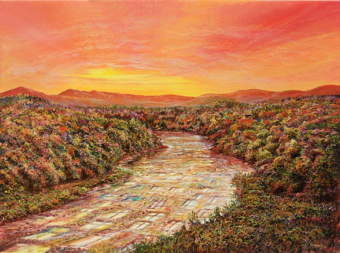 Gläserner Fluss - Ölbild / Leinwand - Gemälde von  S t e r n h a g e l