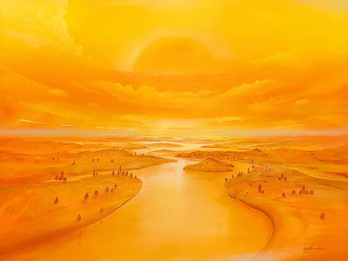 Goldenes Zeitalter - Ölbild / Holztafel - Gemälde von  S t e r n h a g e l