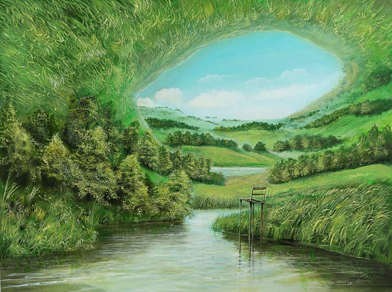 Hochstuhl - Ölbild / Holztafel - Gemälde von  S t e r n h a g e l
