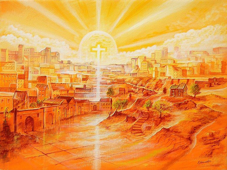 Innenstadt  - Ölbild / Leinwand - Gemälde von  S t e r n h a g e l
