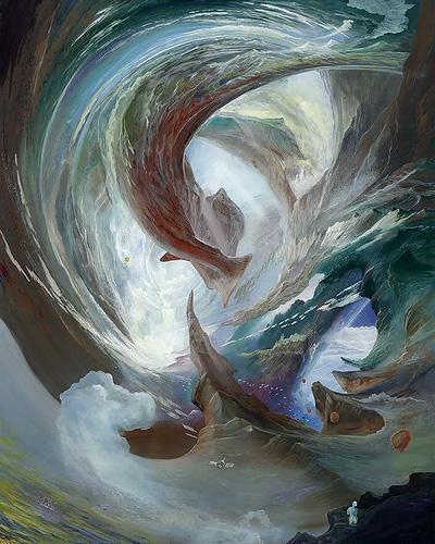 Interstellarer Spaziergang - Ölbild / Holztafel - Gemälde von  S t e r n h a g e l