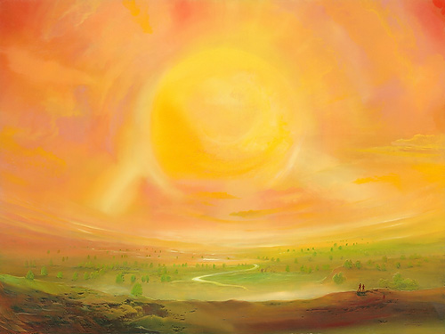 Kleiner Sonnensturm - Ölbild / Holztafel - Gemälde von  S t e r n h a g e l