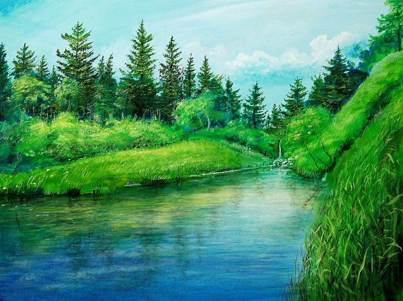 Lacus Montis - Acryl / Holztafel - Gemälde von  S t e r n h a g e l