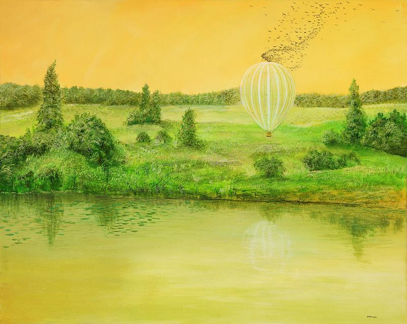 Landender Ballon - Ölbild / Leinwand - Gemälde von  S t e r n h a g e l
