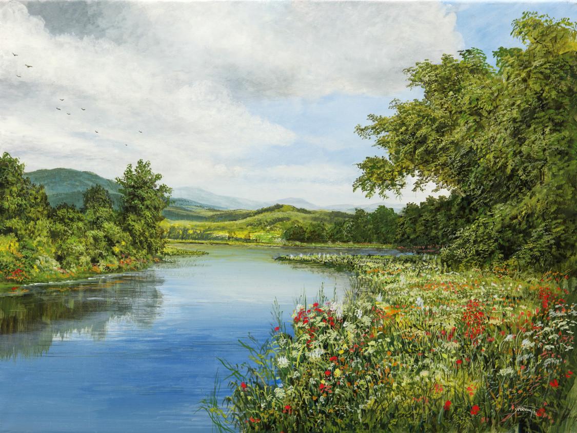 Leise Szenerie - Ölbild / Leinwand - Gemälde von  S t e r n h a g e l