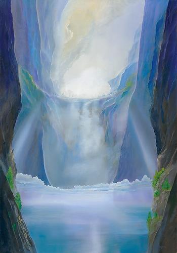 Lichtflutraum - Ölbild / Holztafel - Gemälde von  S t e r n h a g e l
