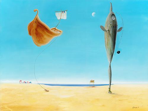 Mondfisch - Ölbild / Holztafel - Gemälde von  S t e r n h a g e l
