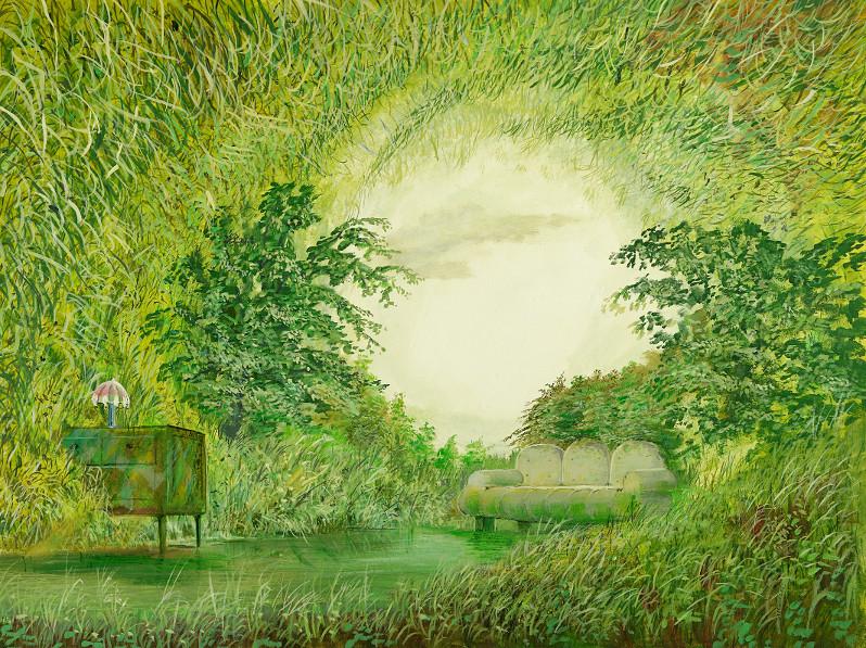 Naturzimmer - Ölbild / Holztafel - Gemälde von  S t e r n h a g e l