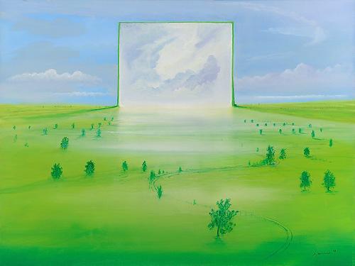 Parallelwelt - Ölbild / Holztafel - Gemälde von  S t e r n h a g e l