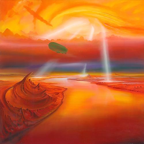 Rote Flugbahn - Ölbild / Leinwand - Gemälde von  S t e r n h a g e l