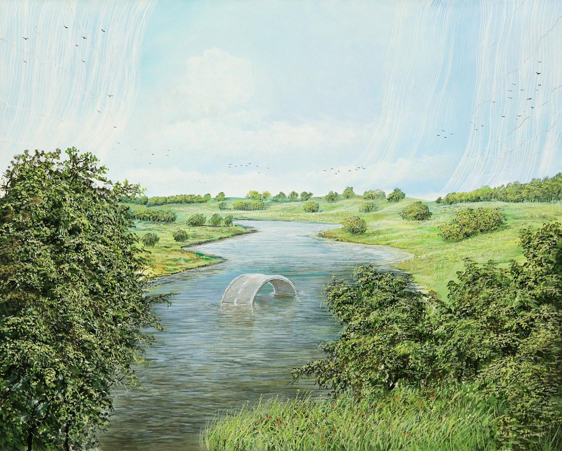 Rundbrücke - Ölbild / Leinwand - Gemälde von  S t e r n h a g e l