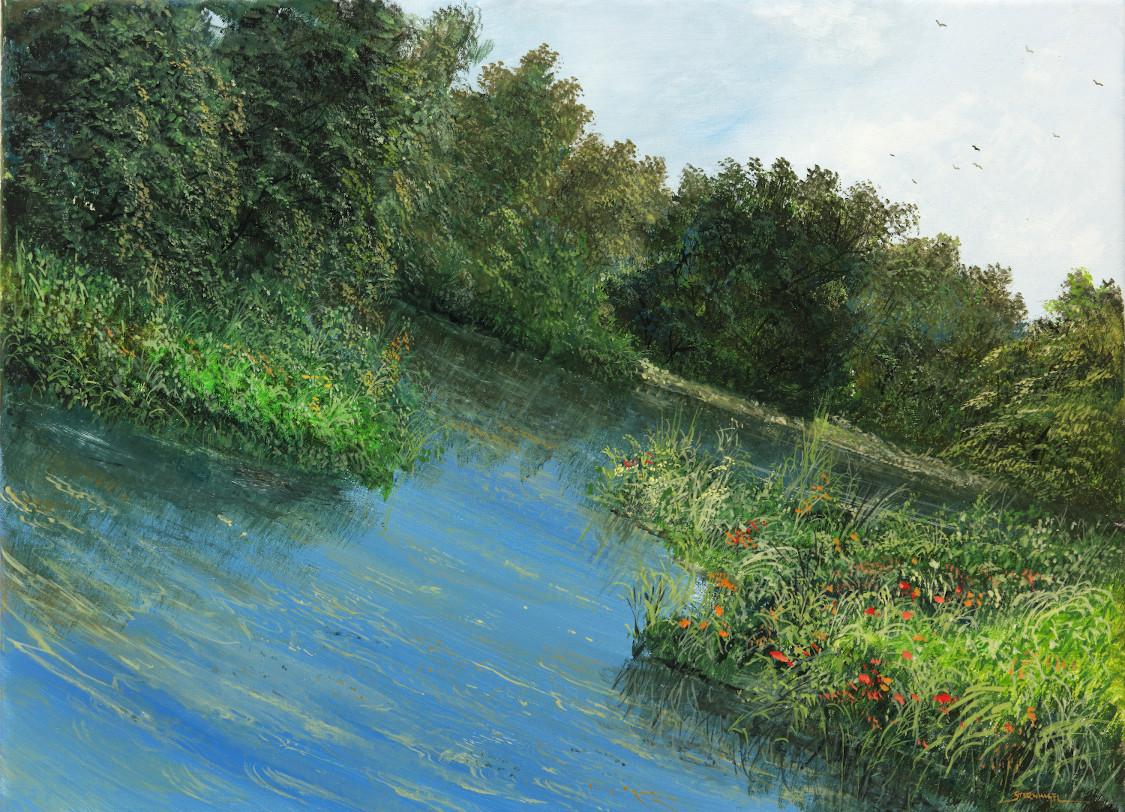 Schiefer Wald - Ölbild auf Leinwand - Gemälde von  S t e r n h a g e l