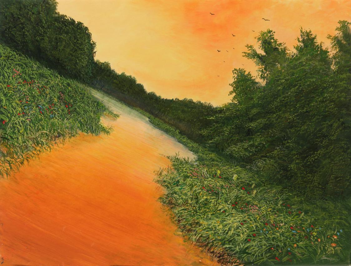 Schraeglauf - Ölbild auf Leinwand - Gemälde von  S t e r n h a g e l