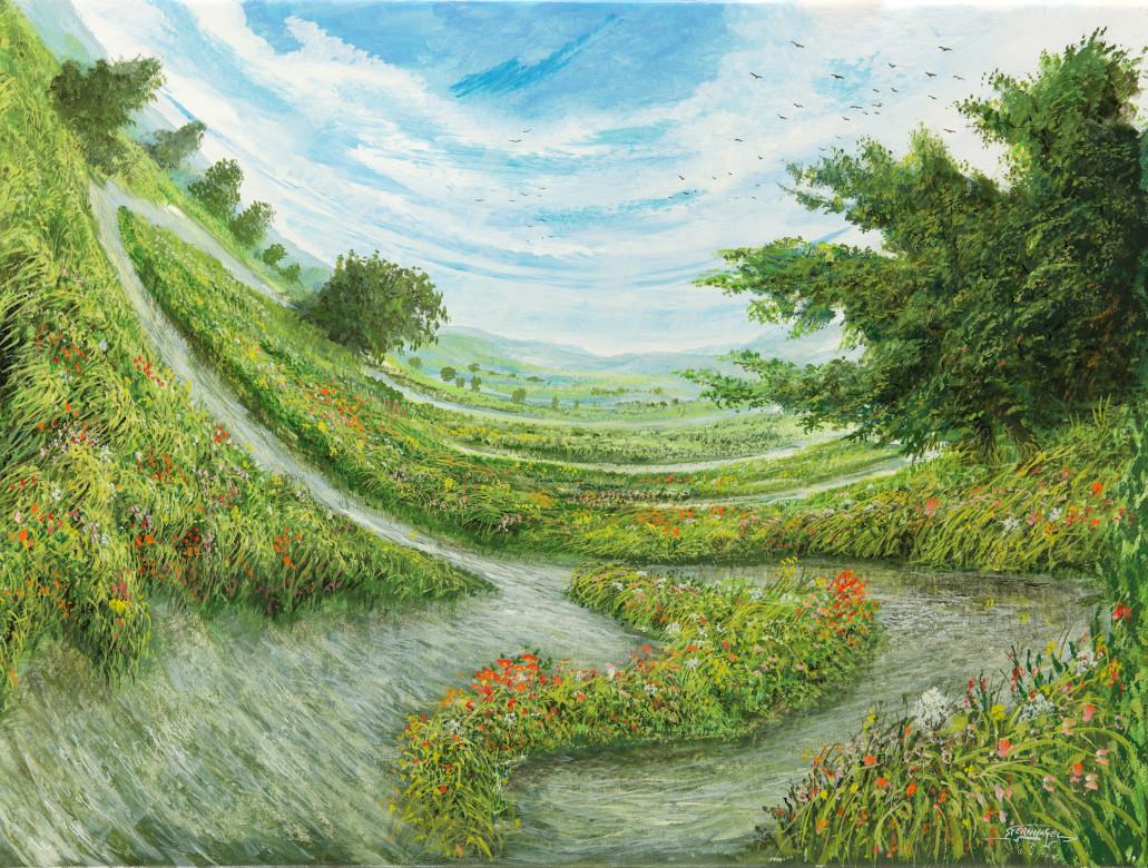 Schwungbild - Ölbild / Leinwand - Gemälde von  S t e r n h a g e l