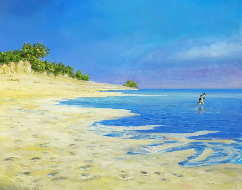 Strandlauf - Ölbild / Holztafel - Gemälde von  S t e r n h a g e l