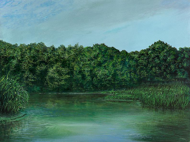 Waldsee - Acryl / Holztafel - Gemälde von  S t e r n h a g e l