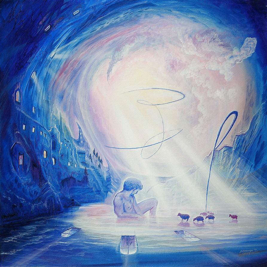 Wasserhirte - Ölbild / Leinwand - Gemälde von  S t e r n h a g e l