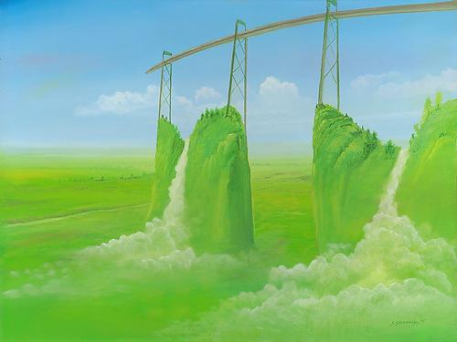 Wasserkreislauf - Ölbild / Holztafel - Gemälde von  S t e r n h a g e l