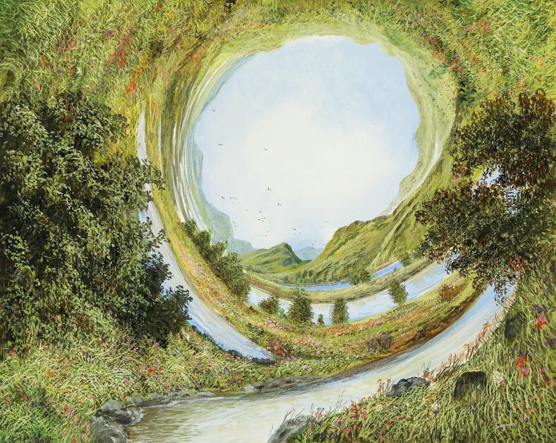 Weltkrümmung - Ölbild / Leinwand - Gemälde von  S t e r n h a g e l